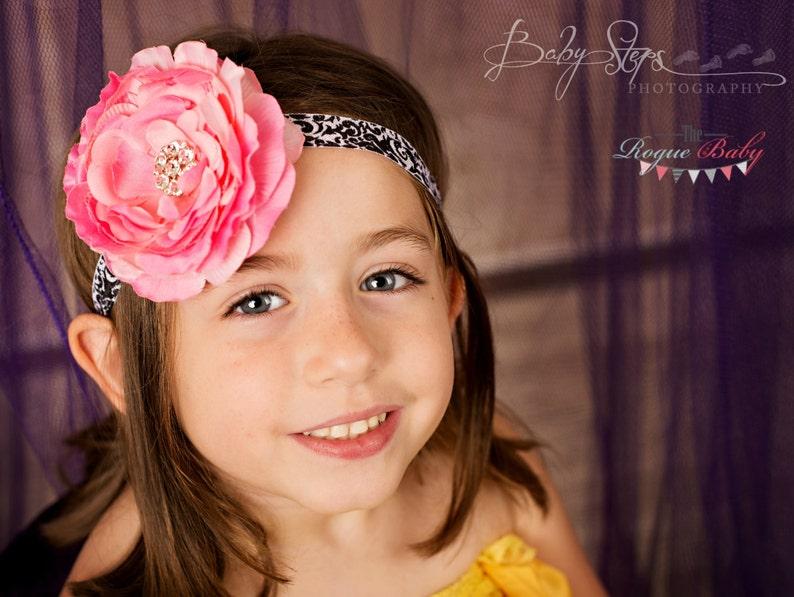 Candy Pink Ranunculus with Black & White Damask Headband  image 0