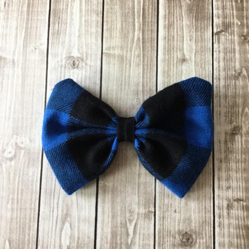 Buffalo Plaid Bow  Blue & Black Flannel Fabric Hair Bow Clip image 0
