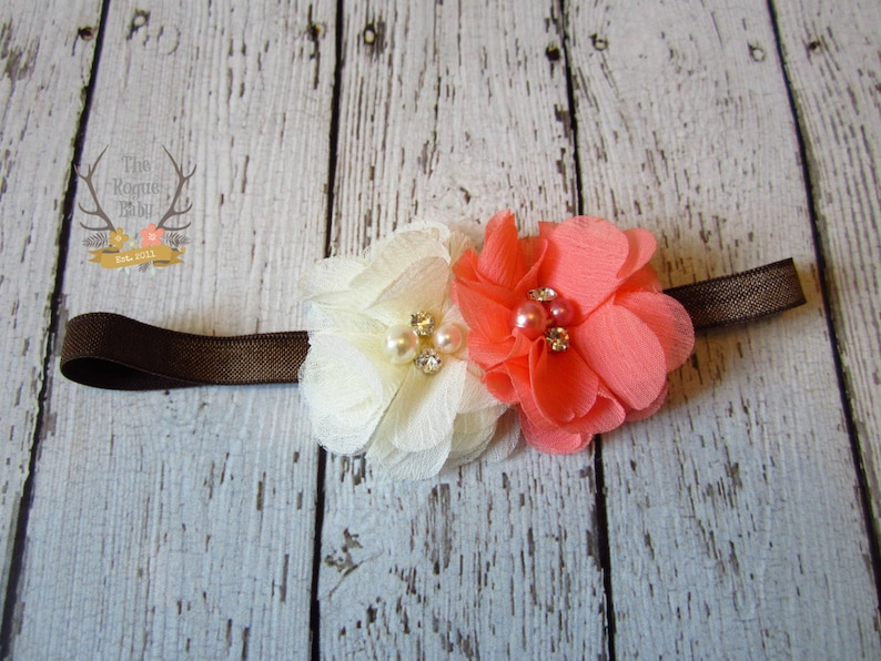 Coral  Cream  Brown  Headband with Pearl Rhinestone Center image 0
