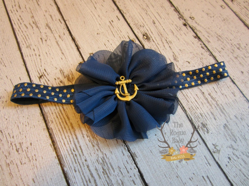 Nautical Anchor Headband   Metallic Gold &  Navy Blue   image 0