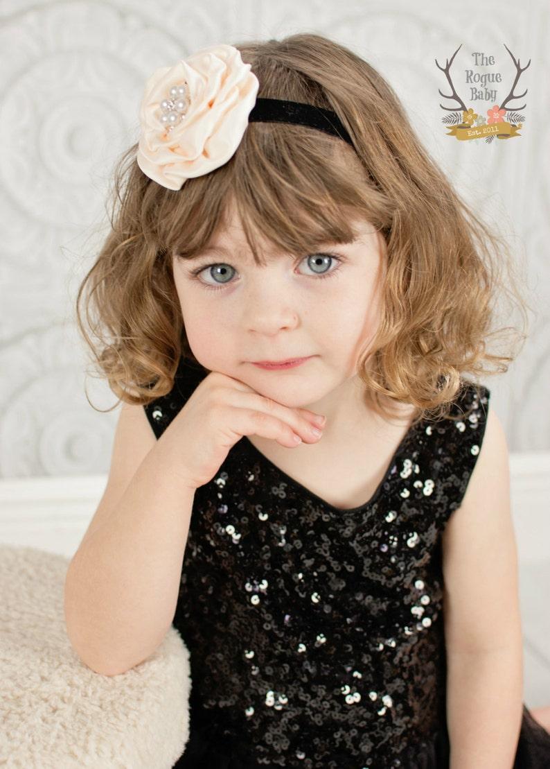 Black & Cream Blush Velvet Headband with Pearl Rhinestones  image 0