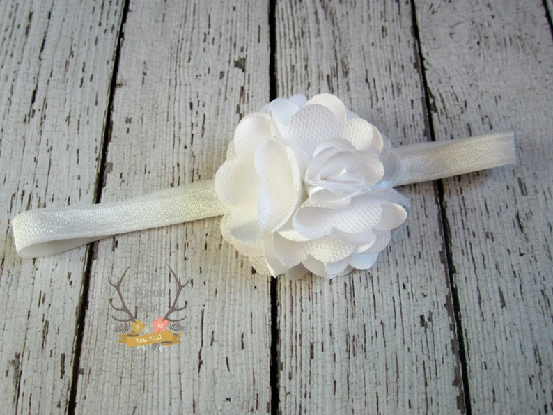 Petite White Headband with Satin & Tulle   Baby Headband  image 0