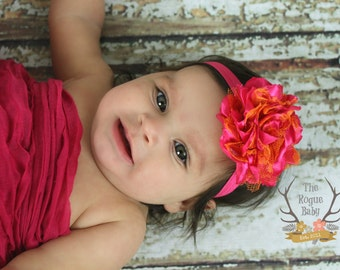 Hot Pink & Orange Headband - Baby Girl Summer Party - Satin and Lace Girls Flower
