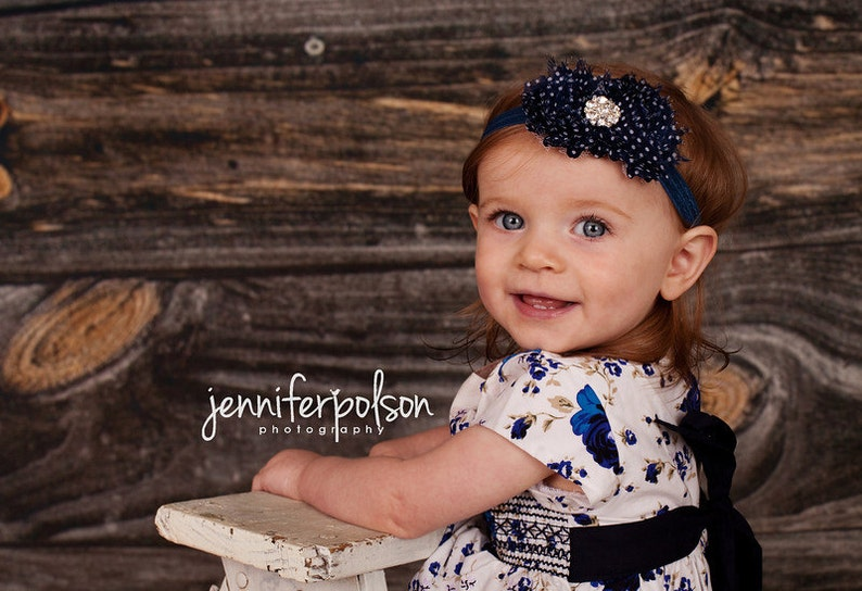 Baby Headband  Navy Blue with White Polka Dots & Rhinestone image 0