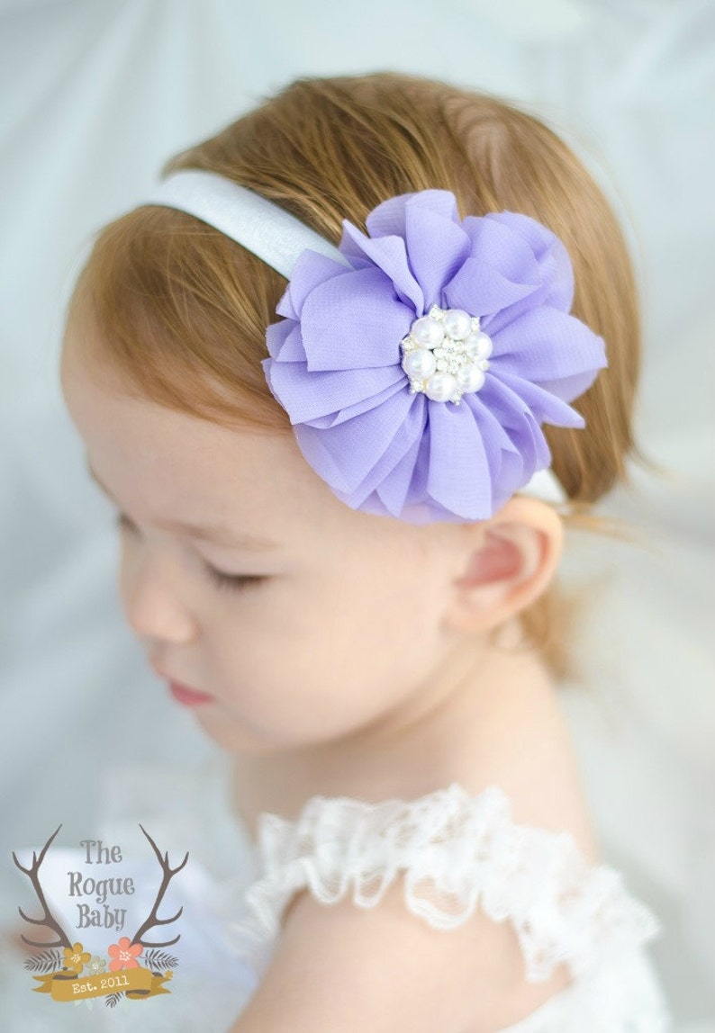Light Purple and White Pearl Headband  Baby Wedding Flower image 0