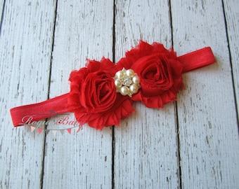 Red Headband Pearl Rhinestone -  Flower Girl - Newborn Infant Baby Toddler Girls Adult Wedding Christmas Valentine's Day