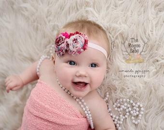 Pink Headband - Baby Headband - Pink Paisley Headband -  Perfectly Pretty in Pink - Newborn Infant Baby Toddler Girls Adult - Preemie