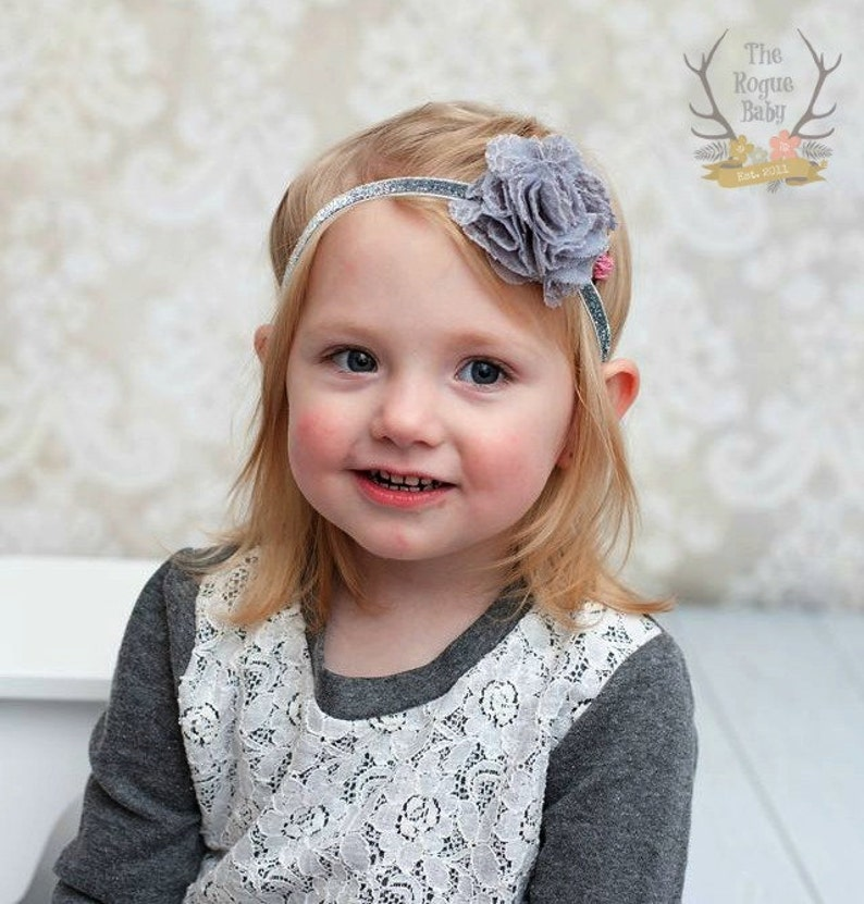 Silver Gray Headband for Baby Girl  Lace Tulle Glitter image 0