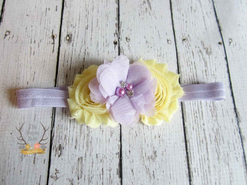 Yellow & Light Purple Headband  Newborn   Baby  Photo Prop image 0