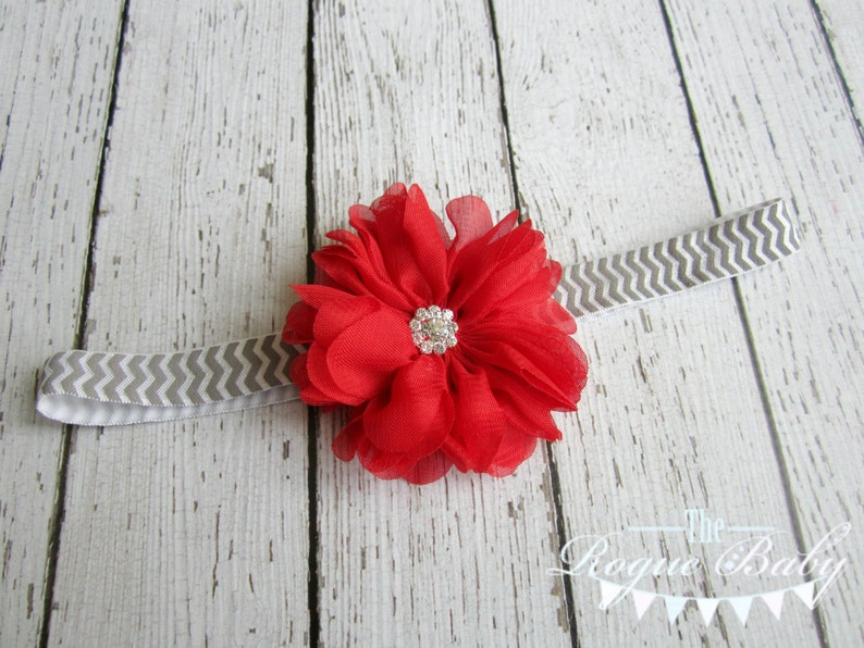 Chevron Headband  Red Chiffon Blossom Flower on Gray & White image 0