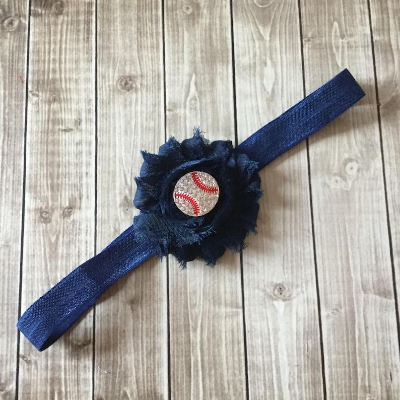 Baseball Headband  Navy Blue Elastic  Rhinestone Bling  image 0