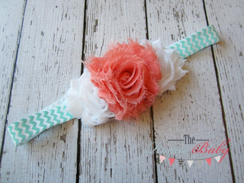 Coral White & Aqua Chevron Headband   Baby  Newborn Infant image 0