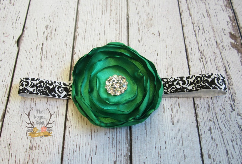 Black & White Damask Headband with Emerald Green Satin Flower image 0