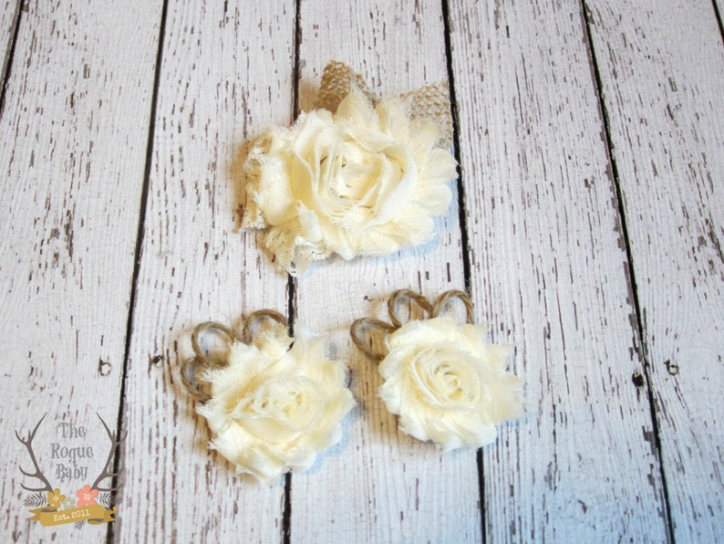 Rustic Wedding Hair Clip with Matching Shoe Clips Set  Burlap image 0