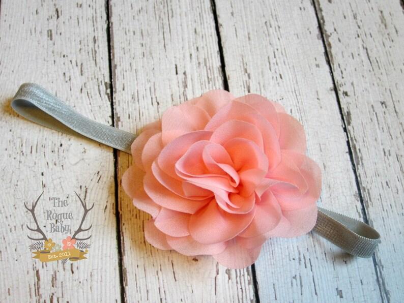 Gray & Pink Headband  Baby Headband   Wedding Flower Girl  image 0