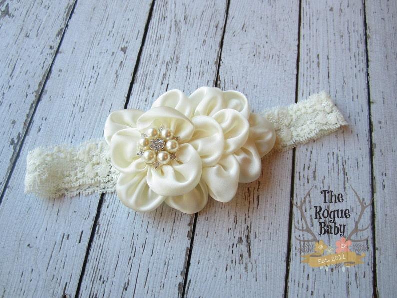Ivory Cream Headband Pearl Rhinestone   Photo Prop  Newborn image 0