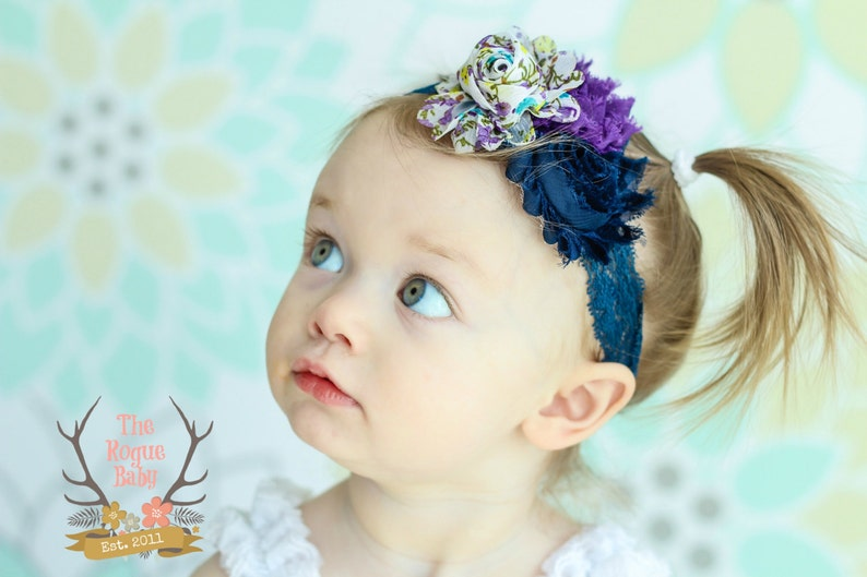 Spring Floral Navy Blue Purple Baby Lace Headband. Photo Prop image 0