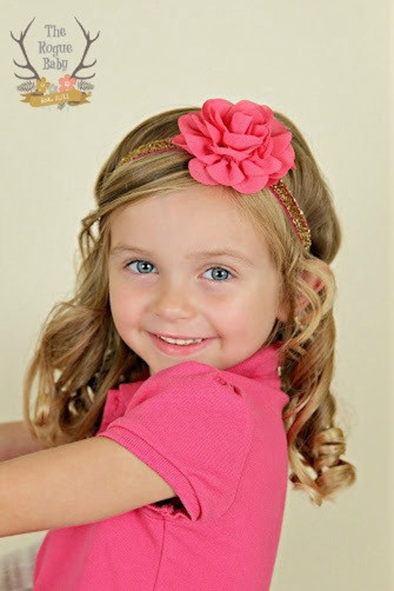 Gold Glitter Headband  Hot Pink  Fuchsia  Pink and Gold  image 0