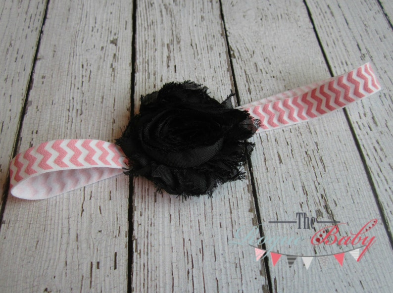 Pink & White Chevron with Black Flower Headband   Photo Prop image 0