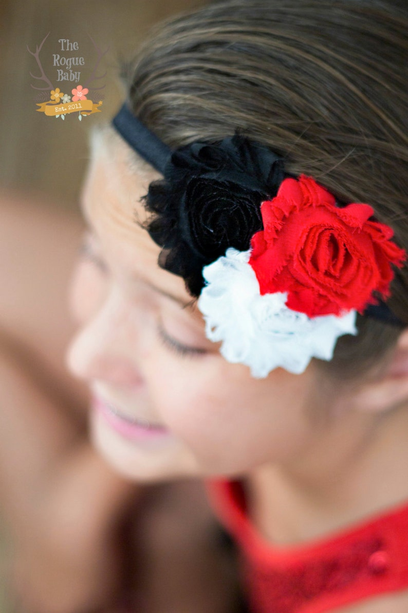 Black White and Red Headband  Baby Newborn Infant Toddlers image 0