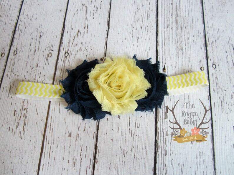 Yellow & Navy Chevron Headband   White   Newborn Infant Baby image 0