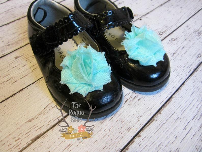Aqua blue Shoe Clips  Shabby Chiffon Rosettes. Wedding Photo image 0