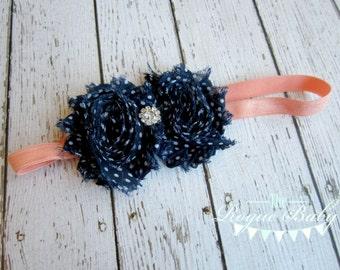 Coral & Navy Blue  with White Polka Dots Headband -  Rhinestone Center - Newborn Infant Baby Toddler Girls Adult Wedding