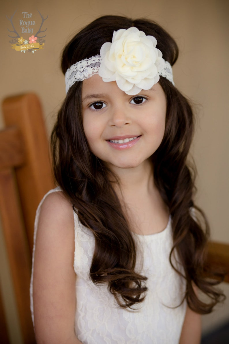 Ivory Cream Lace Headband with Chiffon Rose Flower    Newborn image 0