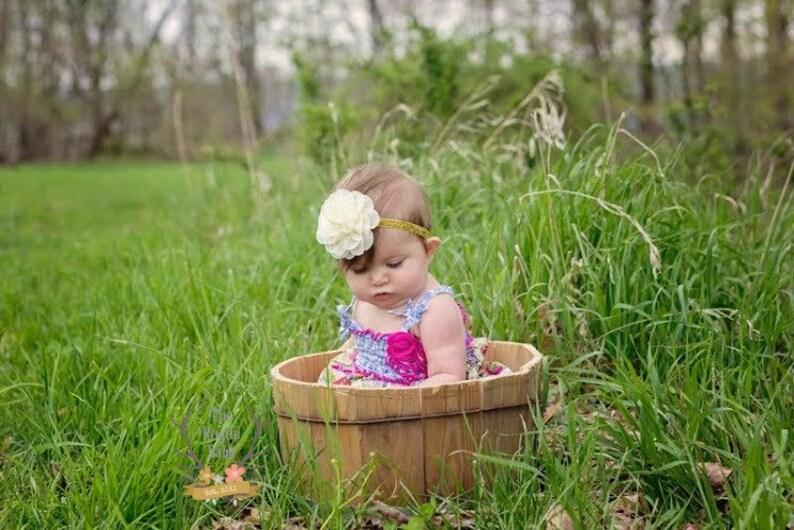 Cream & Gold Glitter Headband   Baby Photo Prop  Newborn image 0
