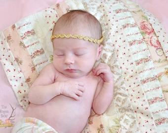 Gold Tie Back Headband -  Metallic Newborn Baby Halo Boho tie-back tieback head band