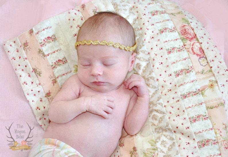 Gold Tie Back Headband   Metallic Newborn Baby Halo Boho image 0
