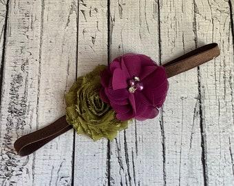 Purple Green & Brown Headband - Magenta Headband - Baby Headband - Headband - Rhinestone Pearls -  Flower Girl - Bridal