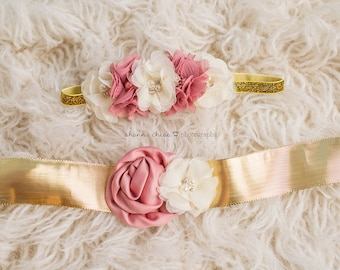 Sash & Headband Set Gold Ivory Dusty Rose Flower with Pearl Rhinestones Glitter Floral Crown - Baby Toddler Flower Girl Bridal Wedding