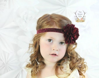 Burgundy Glitter Headband with Satin & Tulle - Frosted Cranberry -  Baby Infant Toddlers Girls Women Maroon