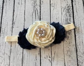 Ivory & Navy Blue Satin Rosette Pearl Rhinestone Headband - Fall Baby Rose Gold Wedding Flower Girl