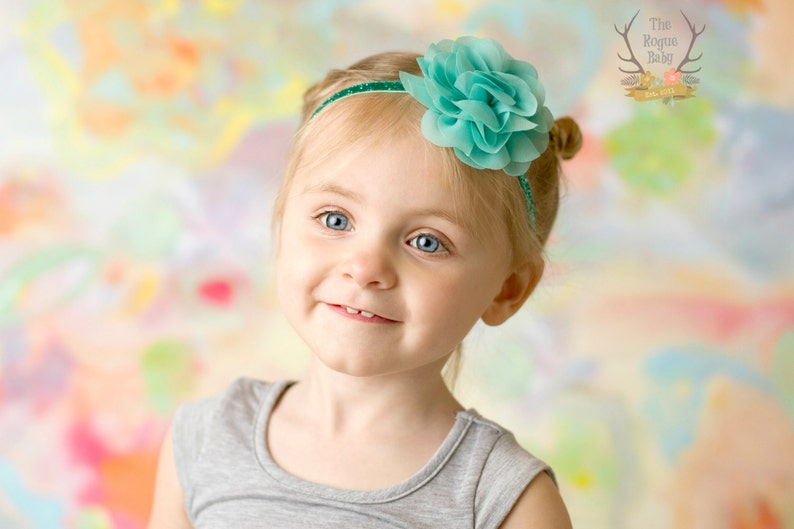 Aqua Glitter Baby Headband  Chiffon Rose Flower  Photo Prop image 0