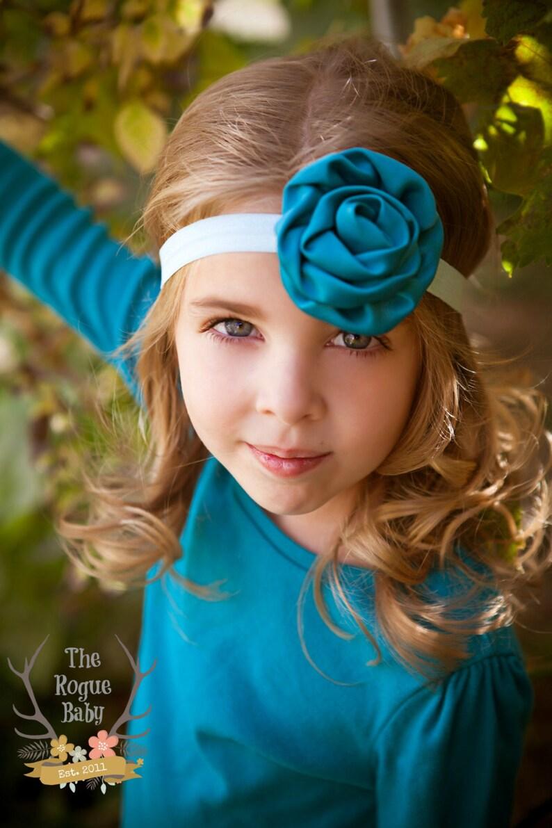 Teal & Aqua Headband   Satin Rosette Flower Headband  Baby image 0