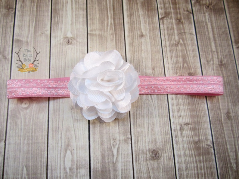 Pink & White Headband  Light Pink Polka Dot Headband   White image 0
