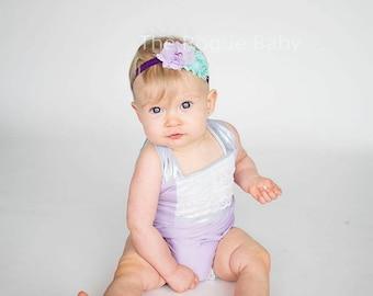 Mermaid - Purple & Aqua Headband - Newborn Infant Toddler Girls Adult - Light Dark Purple Aqua Blue - Lilac Teal