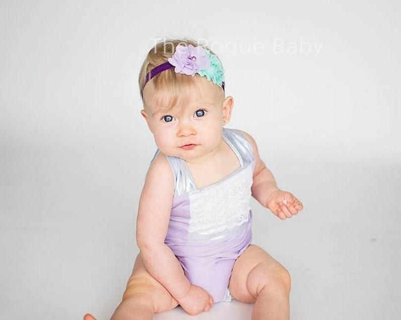 Mermaid  Purple & Aqua Headband  Newborn Infant Toddler image 0