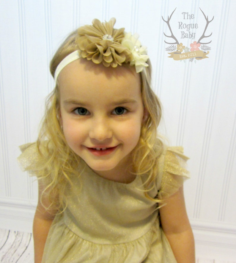 Tan Cream Headband Pearl Rhinestone   Photo Prop  Newborn image 0