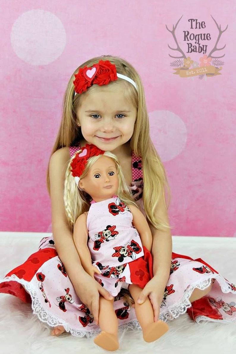 Doll & Me Set  Red White Heart Headband Set  Baby Girl Child image 0