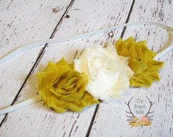 Mustard Yellow & Ivory / Cream Soft Chiffon Headband. Preemie Wedding Flower GIrl Rustic Wedding Chic Fall Ivory Petite