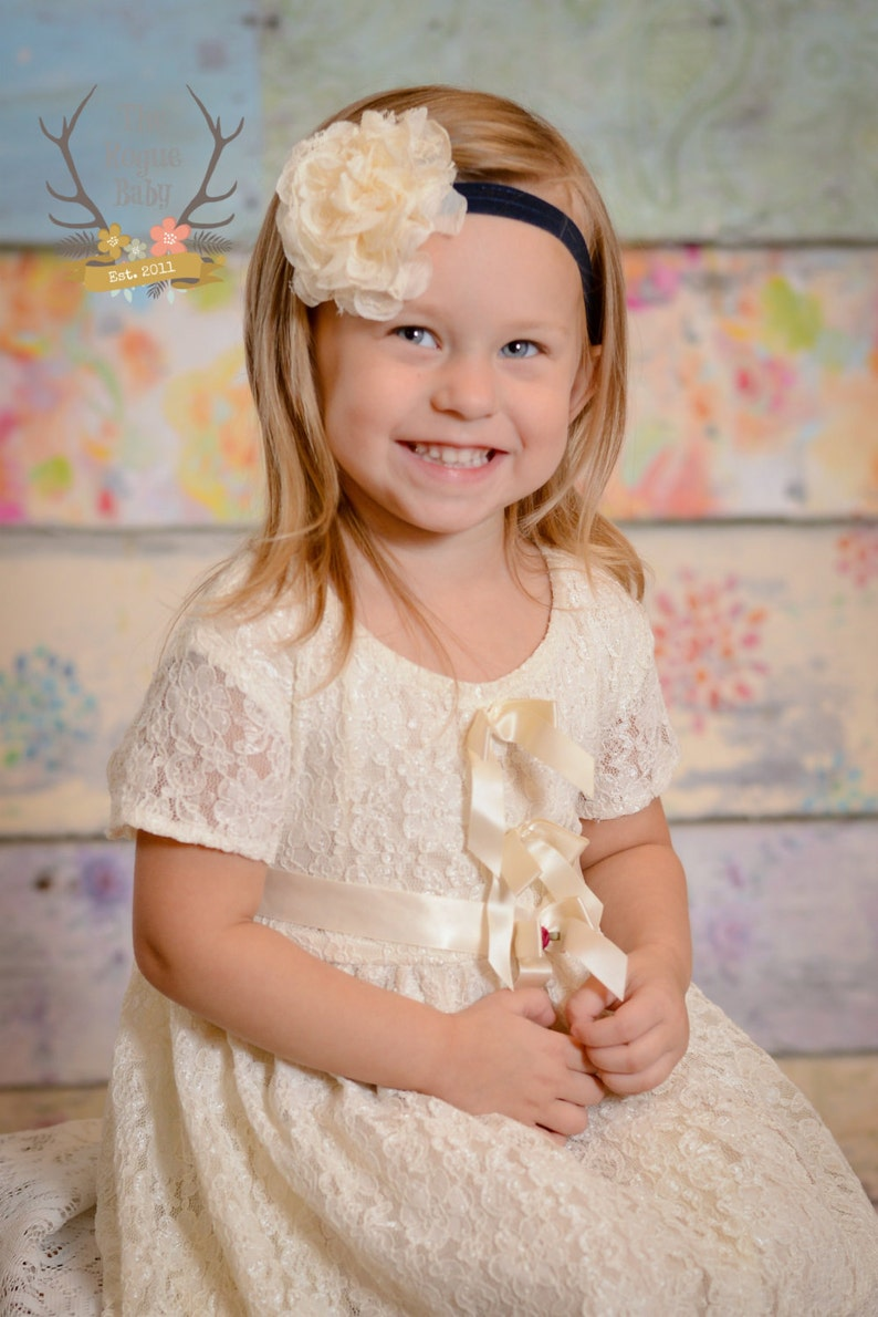 Navy Blue & Cream Headband   Flower Girl Newborn Baby Infant image 0