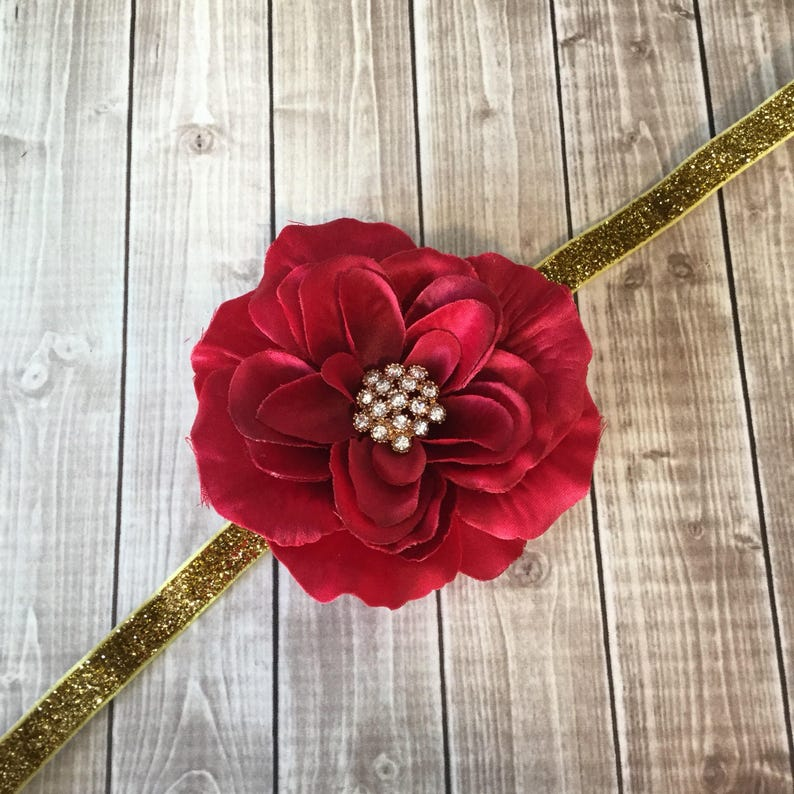 Red & Gold Headband   Glitter Rhinestones  Woman Newborn image 0