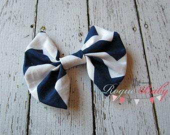 Navy White Chevron Hair Bow - Fabric Bow Hair Clip - Toddler, Baby, Girls Hairbow