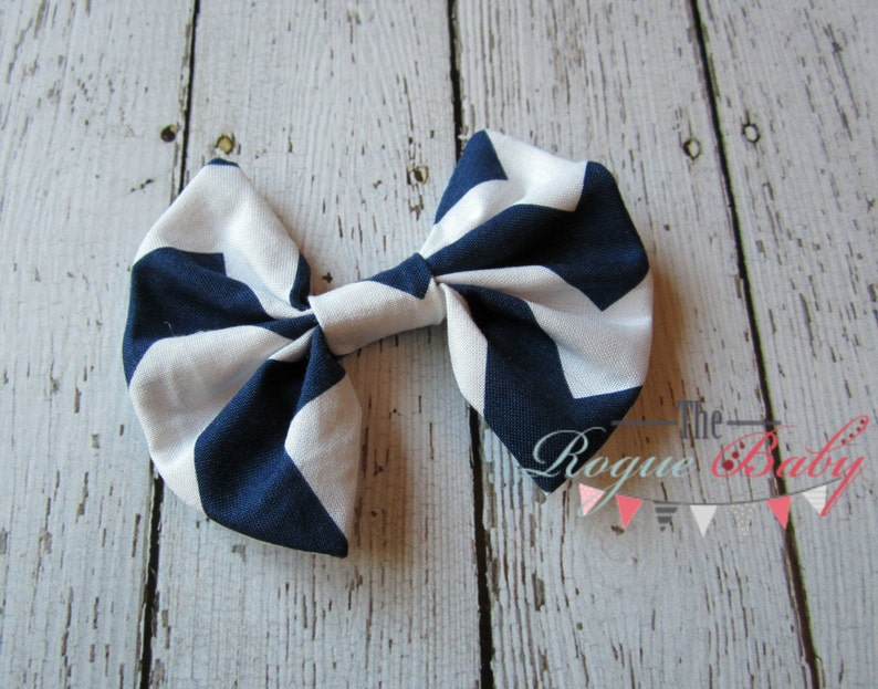 Navy White Chevron Hair Bow  Fabric Bow Hair Clip  Toddler image 0
