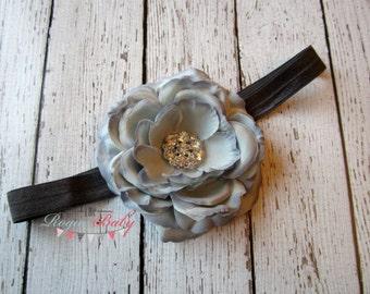 "Gray Ranunculus Headband - 3.5"" gun metal gray dark grey - Silver Metal Rhinestone center. Wedding Flower Girl Dress Up"
