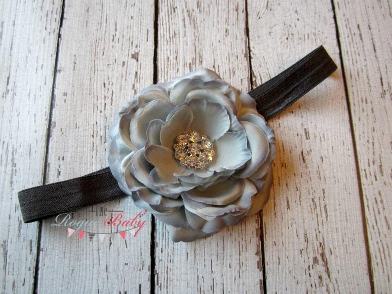Gray Ranunculus Headband  3.5 gun metal gray dark grey image 0