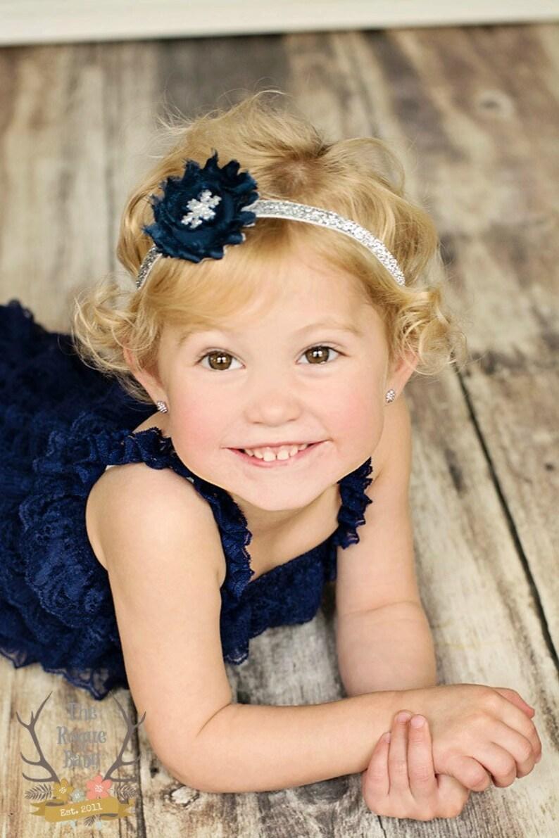 Silver & Navy Blue Snowflake Glitter Winter Baby Headband  image 0